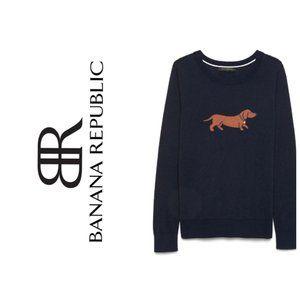 BANANA REPUBLIC Wiener Dog Navy Cotton Sweater